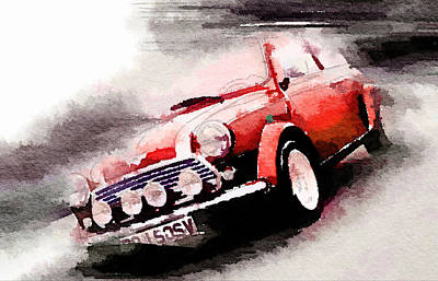 Austin Painting - 1963 Austin Mini Cooper Watercolor by Naxart Studio