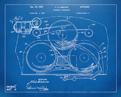 Phonograph Drawing - 1963 Automatic Phonograph Jukebox Patent Artwork Blueprint by Nikki Marie Smith
