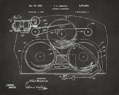 Phonograph Drawing - 1963 Automatic Phonograph Jukebox Patent Artwork - Gray by Nikki Marie Smith