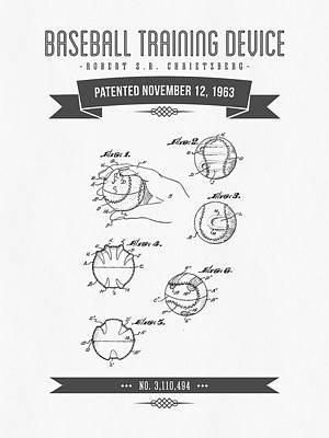 Baseball Glove Mixed Media - 1963 Baseball Training Device Patent Drawing by Aged Pixel