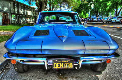 Grils Photograph - 1963 Blue Corvette Stingray-front View by Eti Reid