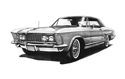 Buick Drawing - 1963 Buick Riviera by Nick Toth
