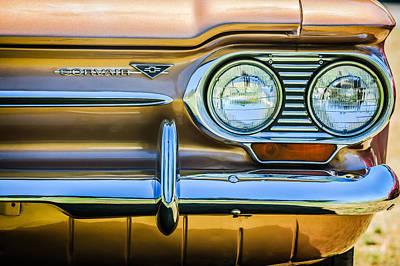 Headlight Photograph - 1963 Chevrolet Corvair Monza Spyder Headlight Emblem -0594c by Jill Reger