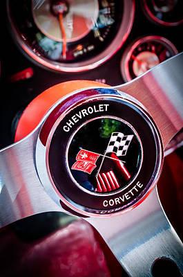 Photograph - 1963 Chevrolet Corvette Split Window Steering Wheel Emblem -309c by Jill Reger