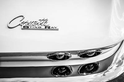Sting Photograph - 1963 Chevrolet Corvette Split Window Taillight Emblem -458bw by Jill Reger