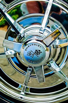 Classic Corvette Photograph - 1963 Chevrolet Corvette Split Window Wheel Emblem -478c by Jill Reger