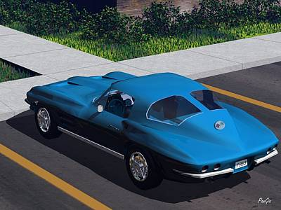 Digital Art - 1963 Corvette by John Pangia