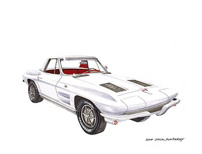 Painting - 1963 Corvette Roadster by Jack Pumphrey