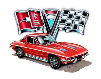 Split Digital Art - 1963 Corvette Split Window In Red by David Kyte