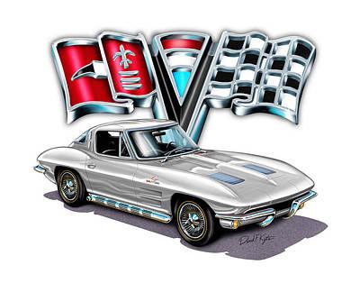 Split Digital Art - 1963 Corvette Split Window In Silver  by David Kyte