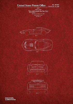 Digital Art - 1963 Corvette Stingray Patent  by Doc Braham
