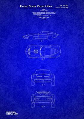 Photograph - Original 1963 Corvette Stingray Patent  by Doc Braham