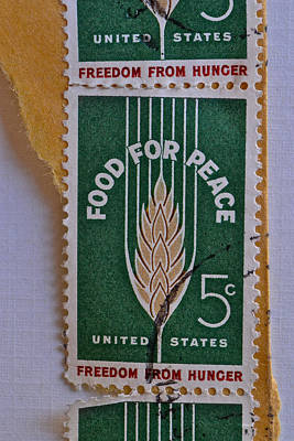 Photograph - 1963 Food For Peace Stamp Collage by Bill Owen