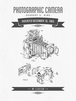 Camera Digital Art - 1963 Photographic Camera Patent Drawing - Retro Gray by Aged Pixel
