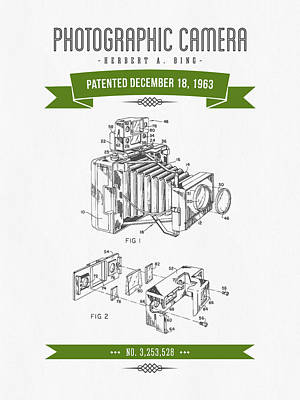 Camera Digital Art - 1963 Photographic Camera Patent Drawing - Retro Green by Aged Pixel