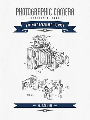 Camera Digital Art - 1963 Photographic Camera Patent Drawing - Retro Navy Blue by Aged Pixel