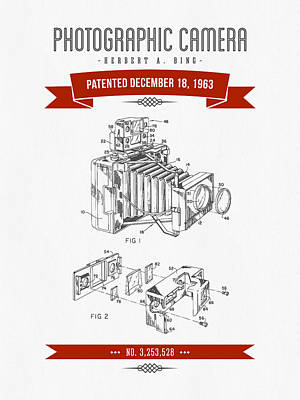 Camera Digital Art - 1963 Photographic Camera Patent Drawing - Retro Red by Aged Pixel