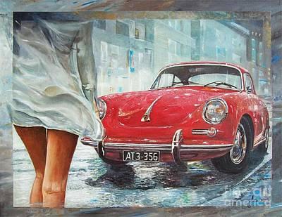 Painting - 1963 Porsche 356 C by Sinisa Saratlic