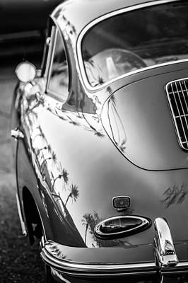 Art Print featuring the photograph 1963 Porsche 356b S Coupe Taillight -1241bw by Jill Reger