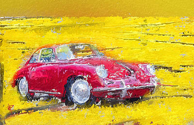 Mixed Media - 1963 Red Porsche 356b by Russell Pierce