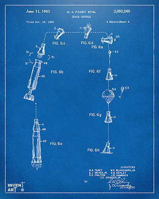 Drawing - 1963 Space Capsule Patent Blueprint by Nikki Marie Smith