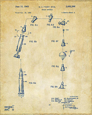 Space Ships Drawing - 1963 Space Capsule Patent Vintage by Nikki Marie Smith