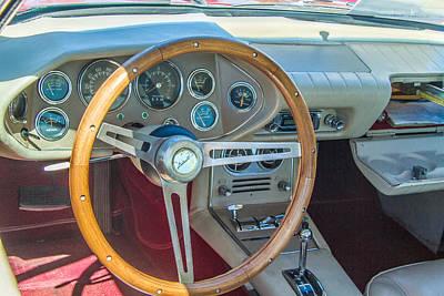 1963 Studebaker Avanti Steering Wheel Art Print by Roger Mullenhour