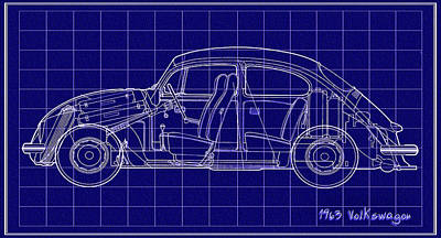 Bug Digital Art - 1963 Volkswagon Beetle Blueprint by Bill Cannon