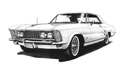 Buick Drawing - 1963 White Buick Riviera by Nick Toth