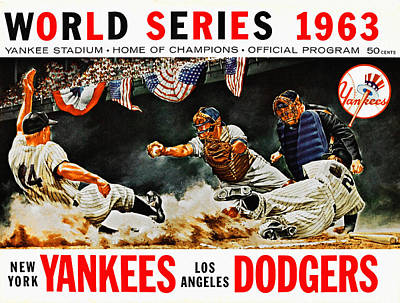 Yankee Stadium Painting - 1963 World Series Yankees Vs Dodgers Program by Big 88 Artworks