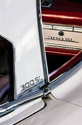 Mercedes Benz 300 Sl Classic Car Photograph - 1963 Mercedes-benz 300 Sl Roadster Emblems by Jill Reger