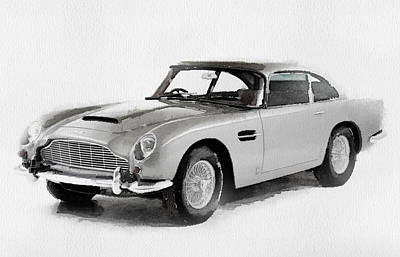 Aston Martin Painting - 1964 Aston Martin Db5 Watercolor by Naxart Studio