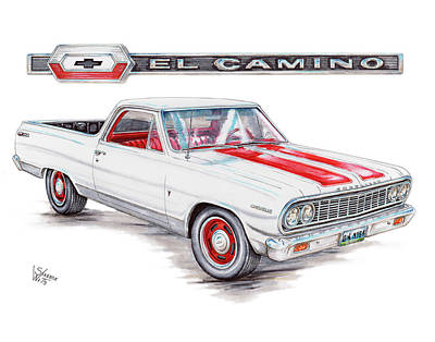 Chevy Drawing - 1964 Chevrolet El Camino by Shannon Watts