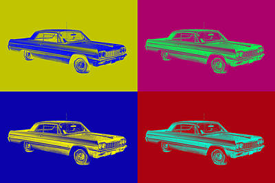 Photograph - 1964 Chevrolet Impala Muscle Car Pop Art by Keith Webber Jr