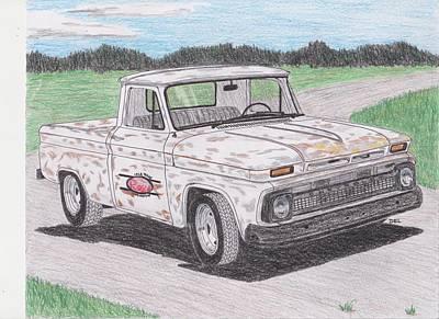 Street Rod Drawing - 1964 Chevy Truck by Darrell Leonard