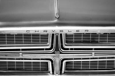 Photograph - 1964 Chrysler 300k Convertible Grille Emblem -3490bw by Jill Reger