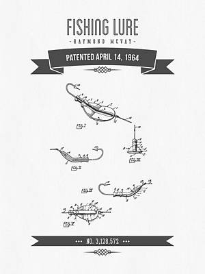 1964 Fishing Lure Patent Drawing Art Print by Aged Pixel