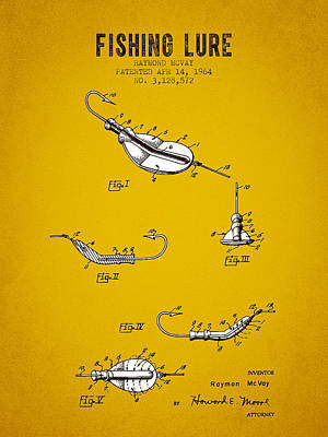 1964 Fishing Lure Patent - Yellow Brown Art Print