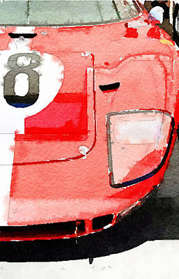 Vintage Mixed Media - 1964 Ford Gt40 Front Detail Watercolor by Naxart Studio