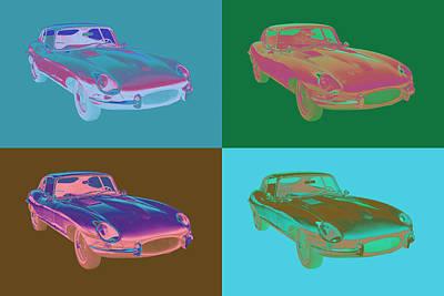 1964 Jaguar Xke Antique Sports Car Pop Art Art Print by Keith Webber Jr