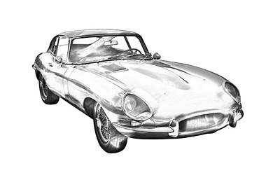 Photograph - 1964 Jaguar Xke Antique Sportscar Illustration by Keith Webber Jr