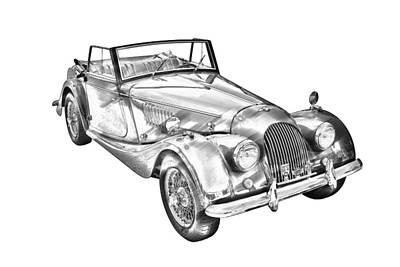 Black Top Digital Art - 1964 Morgan Plus 4 Convertible Sports Car Illustration by Keith Webber Jr