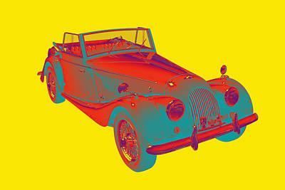 Black Top Digital Art - 1964 Morgan Plus 4 Convertible Sports Car Pop Art by Keith Webber Jr