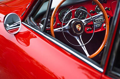Vintage Sports Cars Photograph - 1964 Porsche 356 Carrera 2 Steering Wheel by Jill Reger