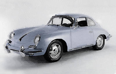 European Cars Mixed Media - 1964 Porsche 356b Watercolor by Naxart Studio