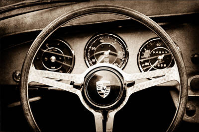 1964 Photograph - 1964 Porsche C Steering Wheel Emblem by Jill Reger