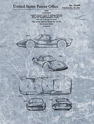 Car Mixed Media - 1964 Porsche Patent Blue by Dan Sproul