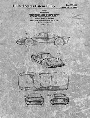 Fast Mixed Media - 1964 Porsche Patent Charcoal by Dan Sproul
