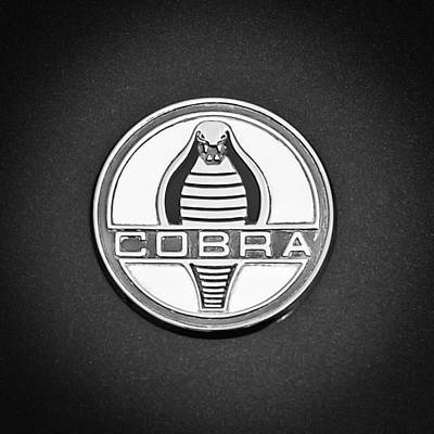 Photograph - 1964 Shelby 289 Cobra Emblem -0088bw by Jill Reger