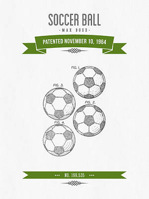 Football Royalty-Free and Rights-Managed Images - 1964 Soccer Ball Patent Drawing - Retro Green by Aged Pixel